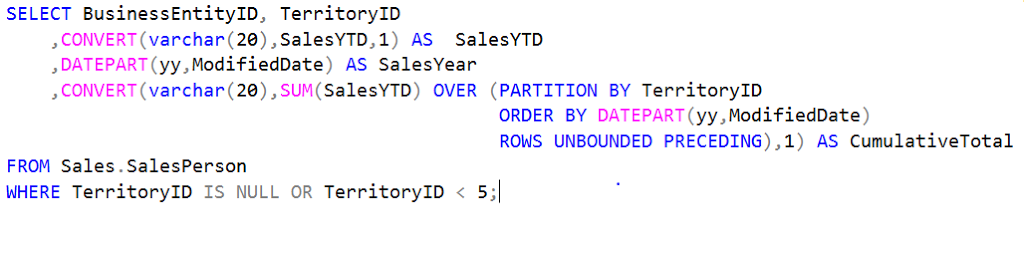SQL Azure –  ROWS UNBOUNDED PRECEDING