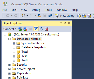 Databases (filtered) SSMS